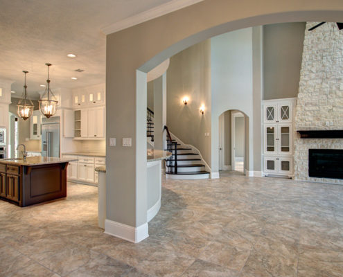 round kitchen and great room